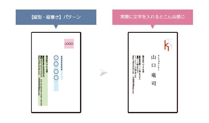 縦書き名刺のデザインサンプル