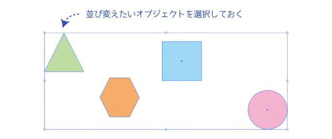 整列パネルで並び替える時はオブジェクトを選択しておく