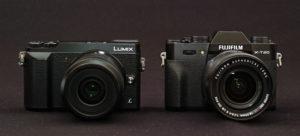 富士フイルムX-T20とLUMIX GX7NK2のサイズ比較