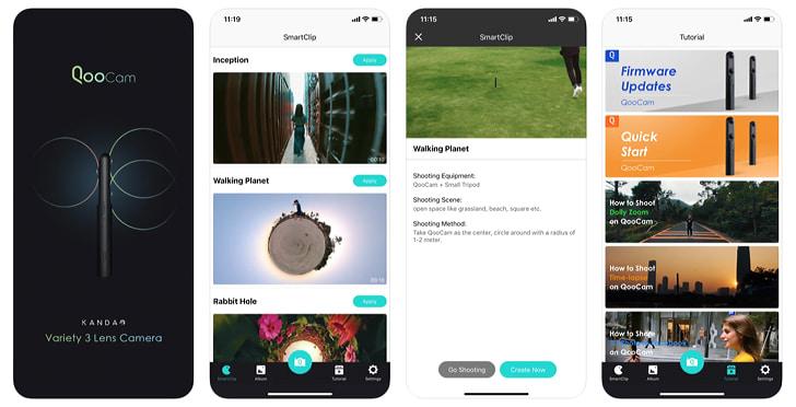 QooCam アプリの画面